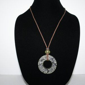 """Brown leather cord and green necklace 22"""""""